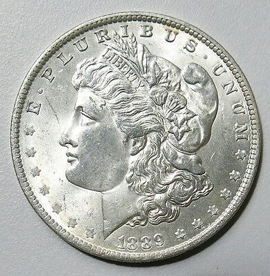 United States of America 1889 Morgan 0.900 Silver Dollar Coin Mint Lustre