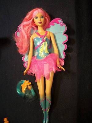 Barbie Doll ~❤️~ Fairytopia Pink Hair Blue Wings Painted Face Textured Legs