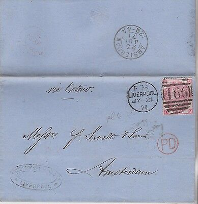 1871 QV LIVERPOOL WRAPPER WITH FINE 3d ROSE STAMP PLATE 6 USED IN AMSTERDAM