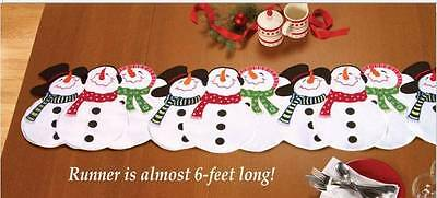 "68""L x 13.5""W SNOWMAN TABLE RUNNER Embroidered Appliqued Pieces ~ NICE QUALITY!"