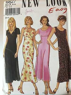 New Look 6827 Pattern Sewing Long Empire Dress Short Sleeves size  6 to 16 Uncut