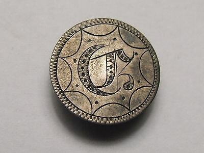 Usa Seated Liberty Half Dime Coin With With Monogram , Button Hole Badge