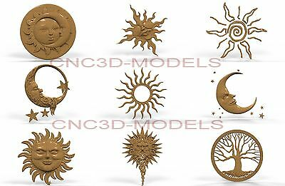 3D Model STL for CNC Router Engraver Carving Artcam Aspire Decor Moon Tree 311