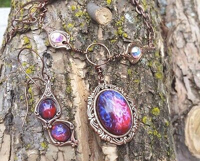 Large Fire Opal with Swarovski links necklace and Earrings Huge Sale Super Gift