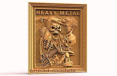 3D Model STL for CNC Router Engraver Carving Artcam Aspire Skull Heavy Metal 320