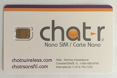 Chatr Nano Sim Card - New Canada travel Unlimited 3G