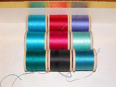 9 Vintage Sylco Coats Cotton Reels & Thread Sewing Silk Cotton Anniversary Gift