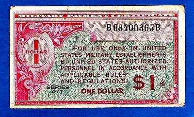 """EX RARE BLOCK """"1"""" USA M12 $1 MILITARY PAYMENT CERTIFICATES 2nd Series 461 1947"""