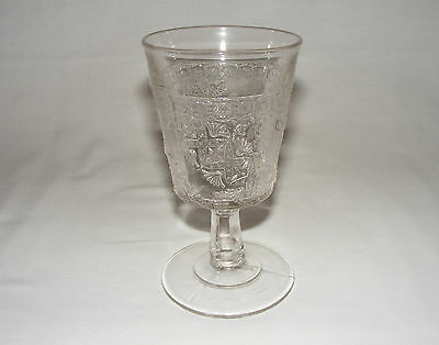 """ANTIQUE 1885 EARLY AMERICAN PRESSED GLASS 6"""" WINE GOBLET Eapg ORNATE A+"""