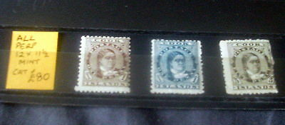 3 x COOK ISLANDS MINT STAMP SET, PERF 12 x 11 1/2, 2 x 1d & 6d STATED TO CAT £80