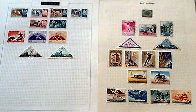 27 San Marino Stamps On Album Pages, Mint & Used, Good Sets With Older Issues.