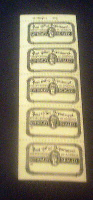 United States Post Office Department Officially Sealed Mnh Strip Of 5 Stamps.