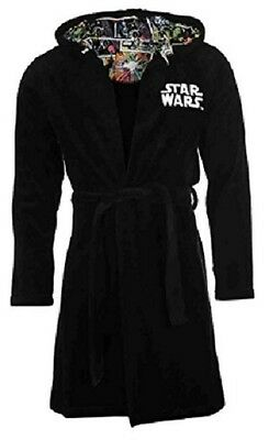 Star Wars Official Disney Mens Hooded Dressing Gown Bath Robe S-L - New Tags