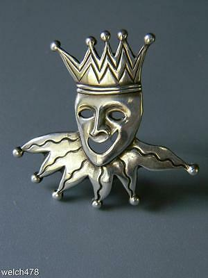 Unique Vintage 1950s Mardi Gras Sterling Silver Jester Pin or Brooch by Lang