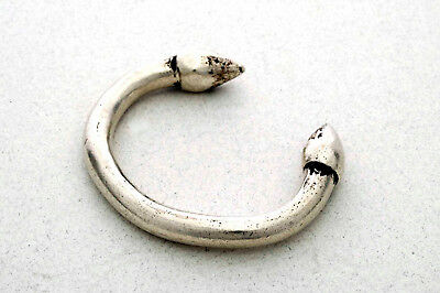 Solid ethnic silver bracelet with lotus buds ends, Rajasthan India 1930's