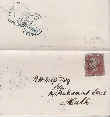 1851 QV WRAPPER WITH 1d RED IMPERF STAMP MAILED TO W H MOSS AT HULL