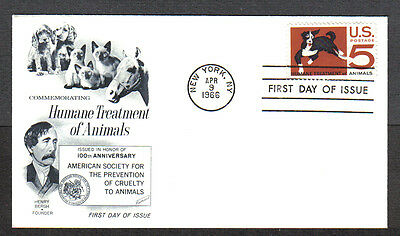 Us Fdc 1966 Humane Treatment Of Animals 5C Fleetwood First Day Of Issue Cover
