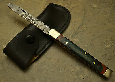 Hand Made Damascus Steel Blade Doctor Knife Multi Color Pokka Wood Handle PKML