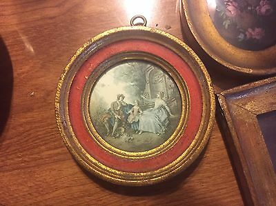 Vintage Red  & Gilt Wood Italian frame with print and glass