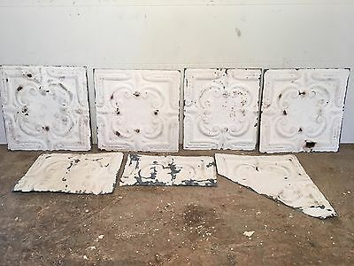 """Lot of 4+ pc - 12"""" x 12"""" Antique Ceiling Tin Tile Vintage Reclaimed Salvage Art"""