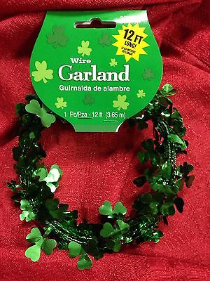 St Patrick's Day 12 Ft Of Wire Garland Green Shamrock Tinsel Decoration Clover