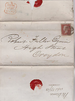 1853 QV WRAPPER WITH 1d RED IMPERF STAMP MAILED TO ROBERT FULLER IN CROYDEN