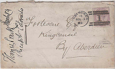 1884 QV COVER WITH 1d LILAC STAMP SENT TO R FORTESCUE KINGS COUNCIL BY ABERDEEN