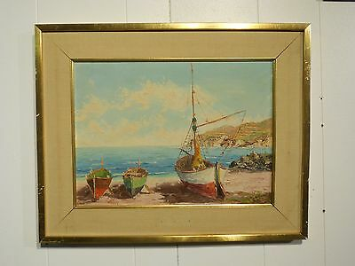 "Vintage Oil on Board European painting of sailboats Signed ""Hayes"""