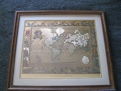 Gold Foil World Map From An Original Engraving By Moses Pitt...1681
