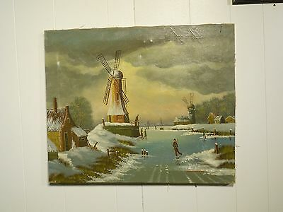 Antique Oil on Canvas European Painting of Windmills Signed