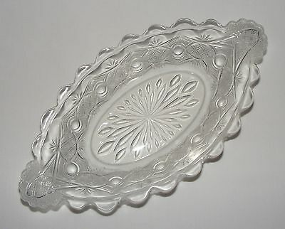 ANTIQUE c.1890 EARLY AMERICAN PRESSED GLASS RELISH TRAY DISH Eapg CHAIN & STAR