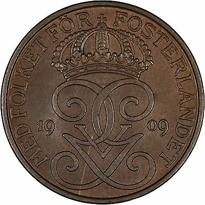 Sweden 1909 5 Ore GLOSSY UNC, ONE YEAR TYPE