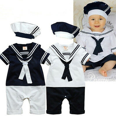 2PCS Baby Boy Sailor Romper with Hat Suit Grow Outfit Summer Marine 7-24M