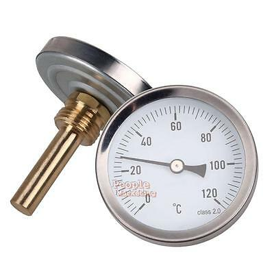 63mm Dial Metal Pipe Thermometer Clip On Temperature Gauge 0-120º C Waterpoof