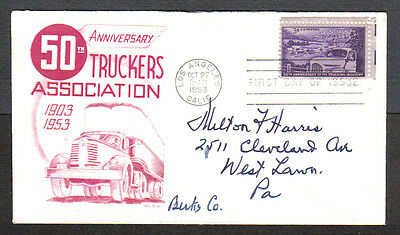 Us Fdc 1953 50Th Anniv.trucking Industry 3C Cc Kb First Day Of Issue Cover