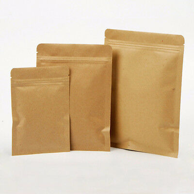 Brown Kraft Paper Bags Aluminized Foil Resealable Zip Lock Packaging Gift Pouch