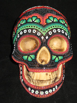 Radiant Huichol Indian Day of the Dead Mexican Folk Art Hand Beaded Skull