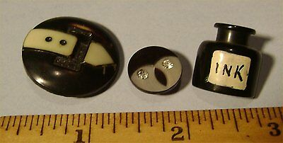 3 Vintage Buttons - Special INK BOTTLE FACE BUCKLE - Mixed Materials - Used