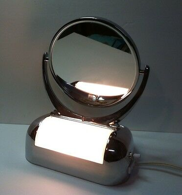 vintage streamlined chrome Lighted Shaving Mirror Acme Specialty Mfg