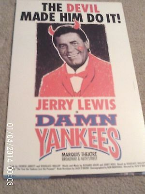 """Jerry Lewis, 22"""" X 14"""" Board Poster For """"damn Yankees"""""""