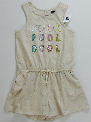 NWT Gap Kids Girls Size 6-7 or 10 Cool Pool Sequin Romper Bathing Suit Cover Up