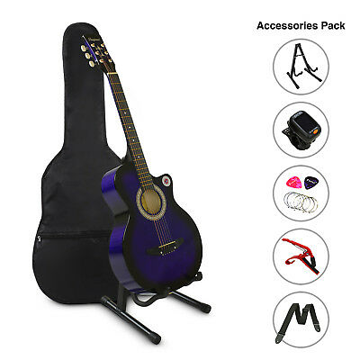 "38"" Inch Wooden Guitar Set Folk Acoustic Classical Cutaway Steel String Purple"