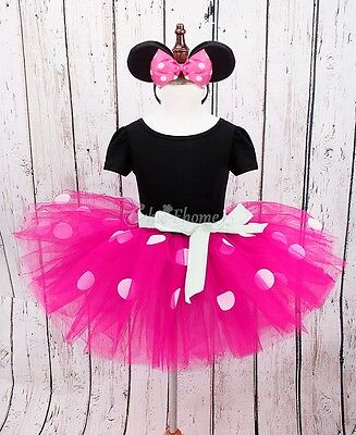 Toddler Baby Girls Minnie Mouse Polka Dots Tutu Skirt Birthday Party Dress 3T
