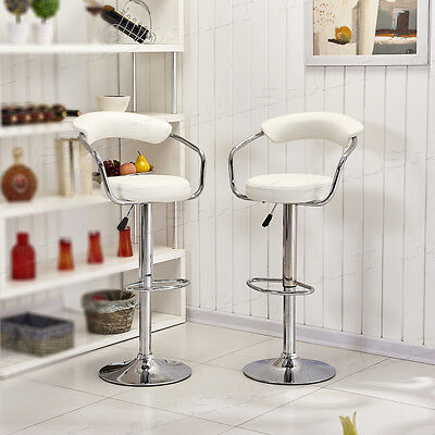 2 Pcs Faux Leather Bar Stool White Pub Chair Swivel Arm Chairs Adjustable