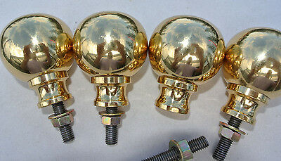 """4 solid Brass BED KNOBS small 2.1/2"""" high old style COT heavy vintage polished B"""