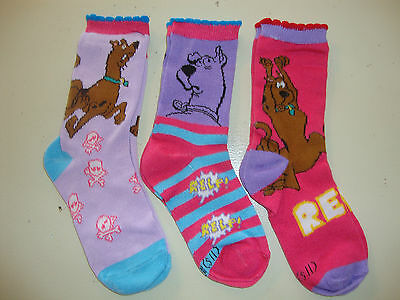 SCOOBY DOO 3 PAIR SOCKS NWOTS  Fits shoe size 5-7  ALL DIFFERENT cute