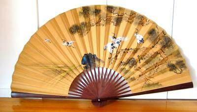Antique Vintage Asian Wall Fan, Very Large, Hand Painted