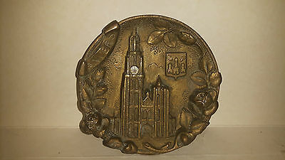 Brass Wall Plaque Anvers Cathedral Collectible