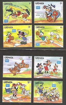 Grenada 1986 Walt Disney Cartoon Characters Playing Baseball Complete MNH Set
