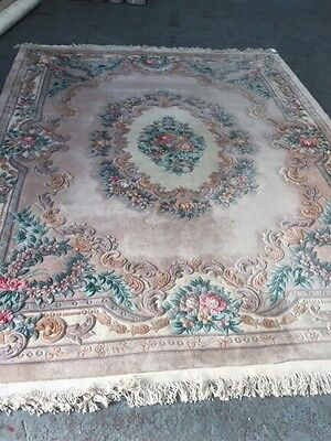 Antique Hand tufted Rug Chinese Oriental Carpet pink floralWool 270x360cm